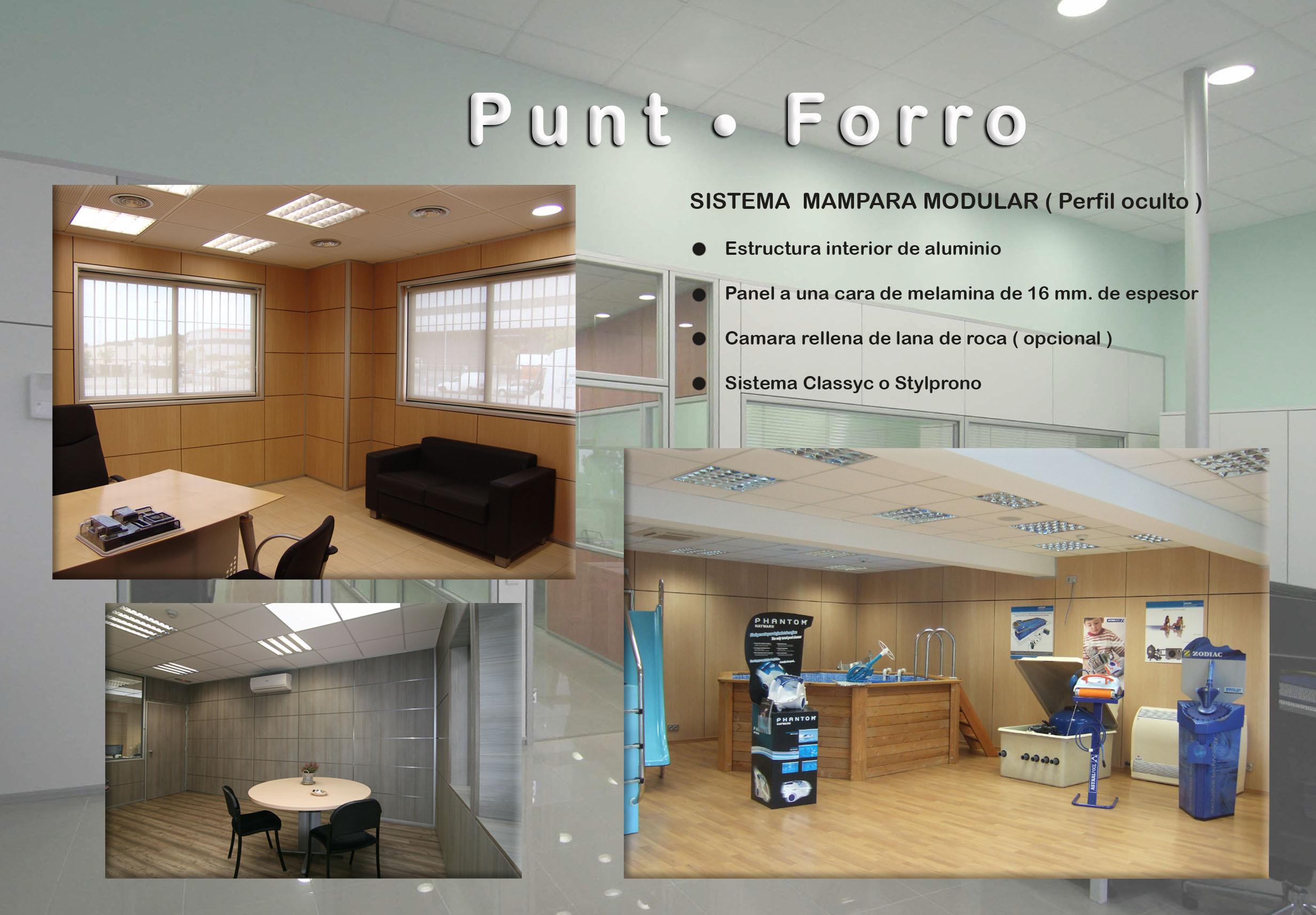Mamparas de oficina en Barcelona, mamparas despachos en Barcelona, Punt - Forro